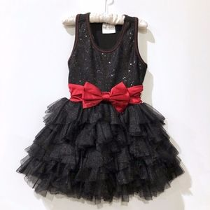 Girls Ooh! La, La! Couture Black Dress Red Bow 3T
